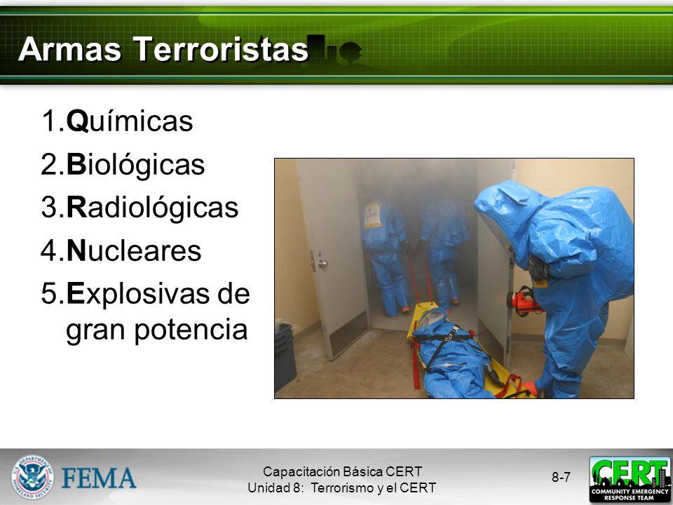 8-7 Armas Terroristas 1.Químicas 2.Biológicas 3.Radiológicas 4.Nucleares 5.Explosivas de gran potencia Capacitación Básica CERT Unidad 8: Terrorismo y el CERT