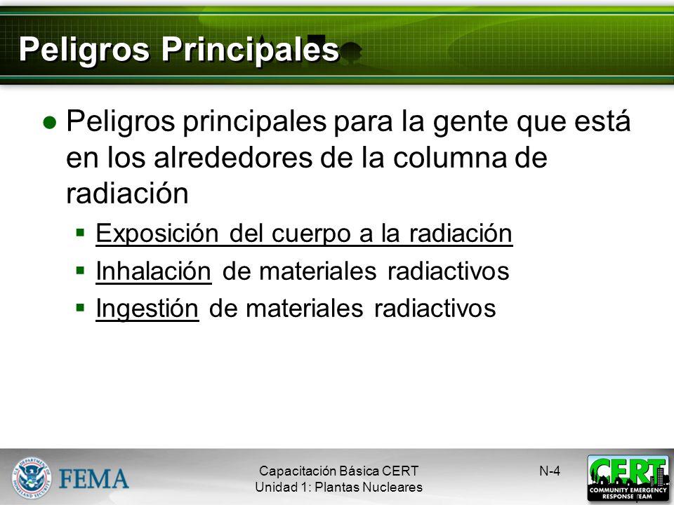 Radiación El peligro potencial de un accidente en una planta nuclear es la exposición a la radiación El área afectada por la emisión de material radia