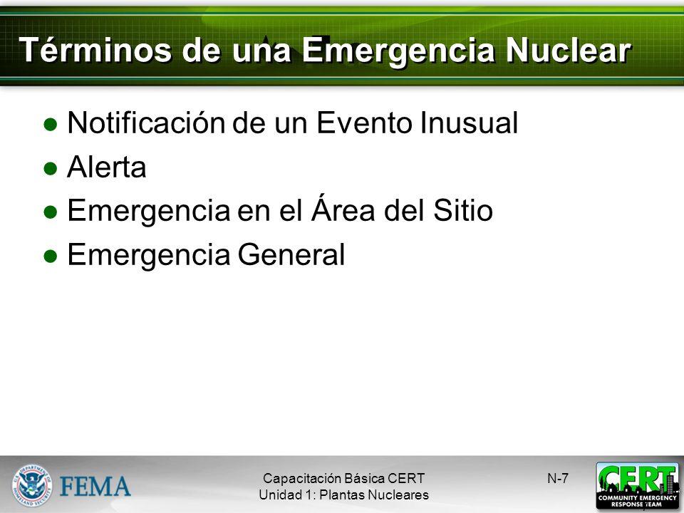 Minimizar la Exposición Se minimiza la radiación mediante: El tiempo La distancia La protección N-6 6 Capacitación Básica CERT Unidad 1: Plantas Nucle