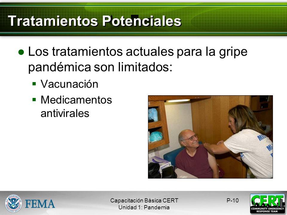 Tratamientos Potenciales Los tratamientos actuales para la gripe pandémica son limitados: Vacunación Medicamentos antivirales P-10Capacitación Básica CERT Unidad 1: Pandemia