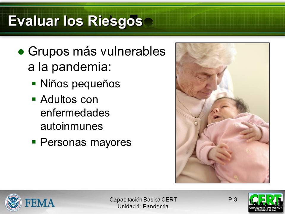 Evaluar los Riesgos Grupos más vulnerables a la pandemia: Niños pequeños Adultos con enfermedades autoinmunes Personas mayores P-3Capacitación Básica CERT Unidad 1: Pandemia