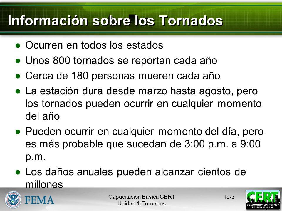 Información sobre los Tornados Ocurren en todos los estados Unos 800 tornados se reportan cada año Cerca de 180 personas mueren cada año La estación dura desde marzo hasta agosto, pero los tornados pueden ocurrir en cualquier momento del año Pueden ocurrir en cualquier momento del día, pero es más probable que sucedan de 3:00 p.m.