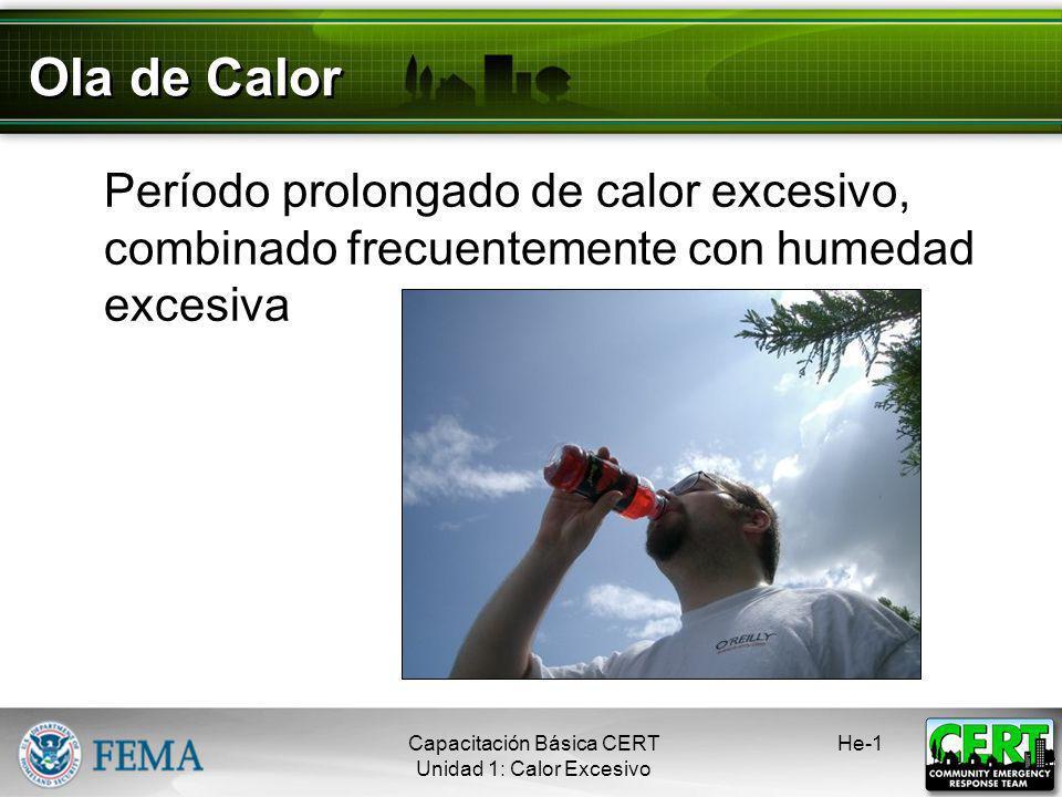 Ola de Calor Período prolongado de calor excesivo, combinado frecuentemente con humedad excesiva He-1Capacitación Básica CERT Unidad 1: Calor Excesivo