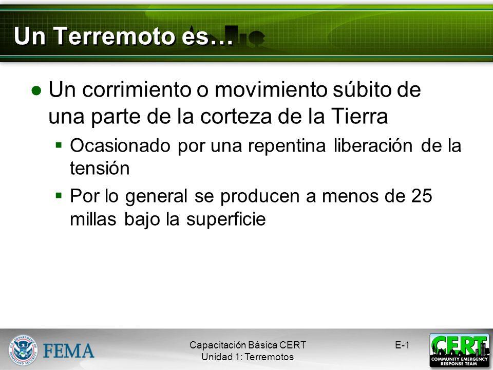 Terremotos Capacitación Básica CERT Peligros