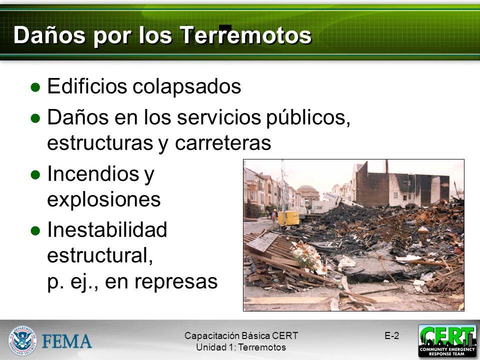 Daños por los Terremotos Edificios colapsados Daños en los servicios públicos, estructuras y carreteras Incendios y explosiones Inestabilidad estructural, p.