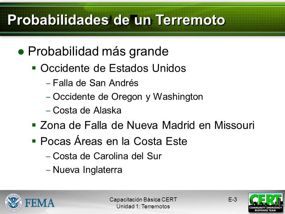 Probabilidad más grande Occidente de Estados Unidos Falla de San Andrés Occidente de Oregon y Washington Costa de Alaska Zona de Falla de Nueva Madrid en Missouri Pocas Áreas en la Costa Este Costa de Carolina del Sur Nueva Inglaterra Capacitación Básica CERT Unidad 1: Terremotos E-3 Probabilidades de un Terremoto