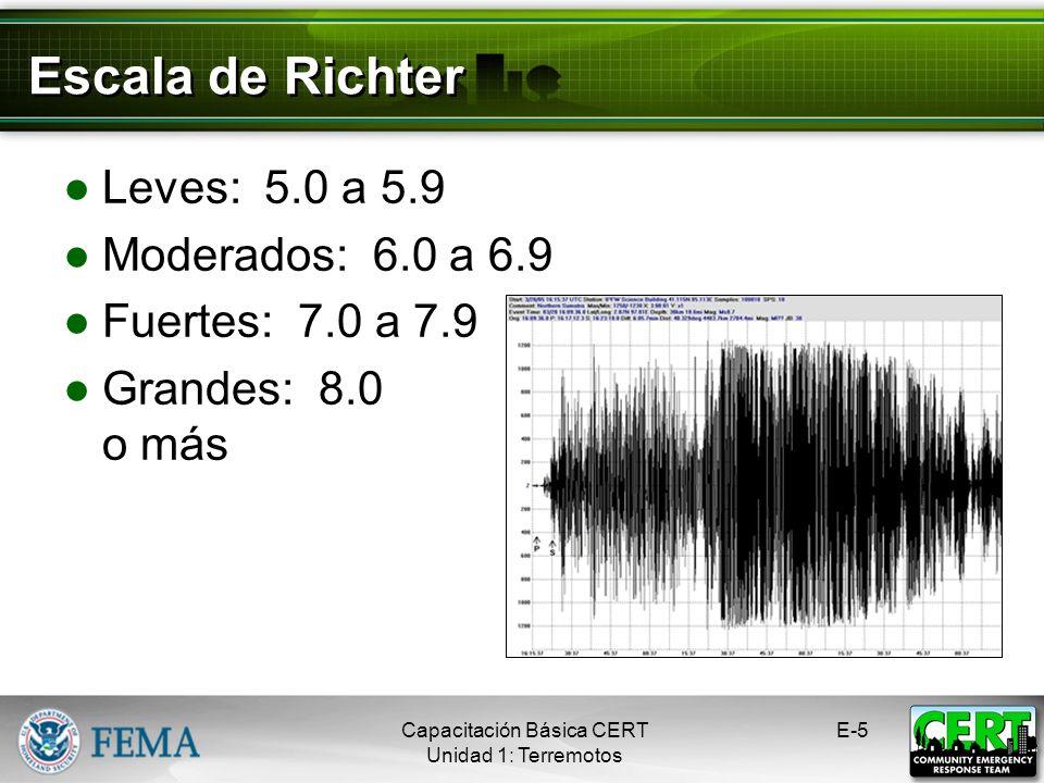 Escala de Richter Leves: 5.0 a 5.9 Moderados: 6.0 a 6.9 Fuertes: 7.0 a 7.9 Grandes: 8.0 o más Capacitación Básica CERT Unidad 1: Terremotos E-5