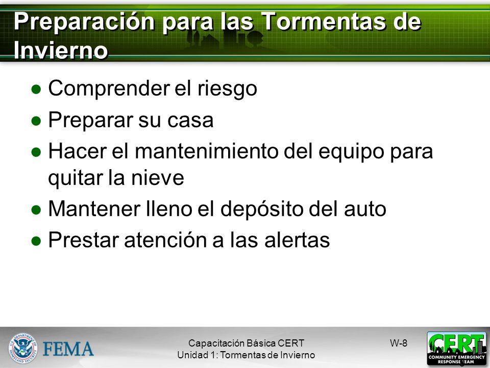 Frío Sensación térmica Congelación Hipotermia W-7 7 Capacitación Básica CERT Unidad 1: Tormentas de Invierno