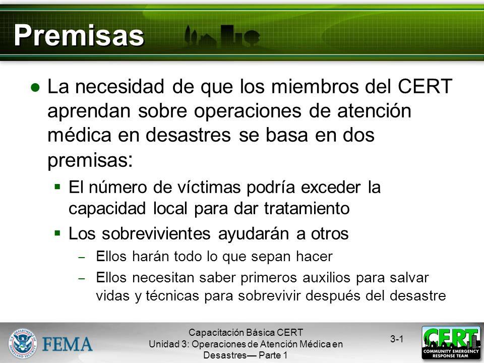 Operaciones de Atención Médica en Desastres Parte 1 Capacitación Básica CERT Unidad 3