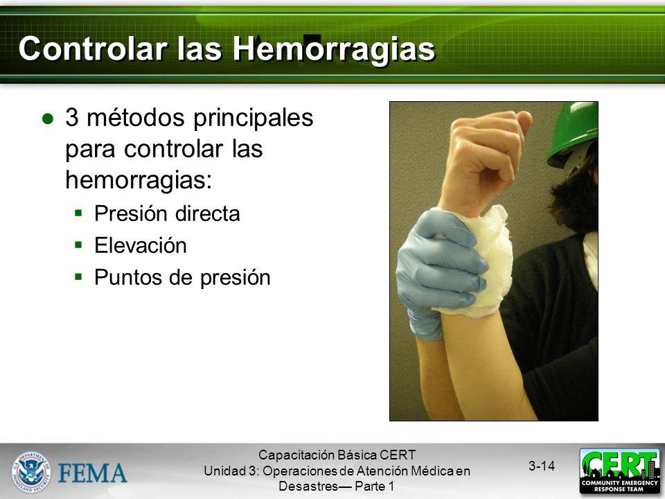 Capacitación Básica CERT Unidad 3: Operaciones de Atención Médica en Desastres Parte 1 3-13 Tipos de Hemorragias - 2