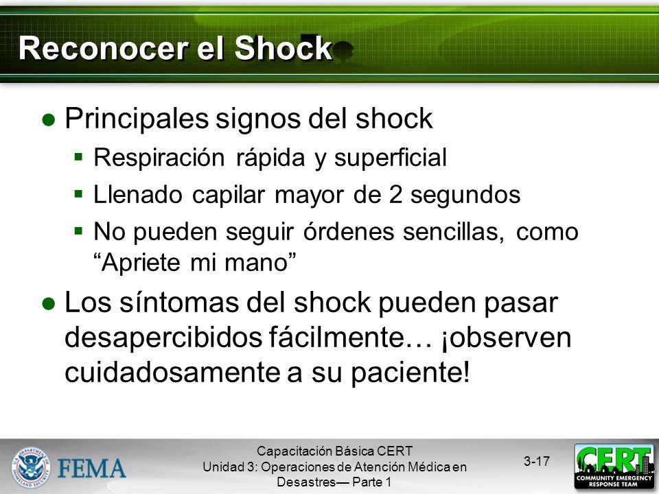 Capacitación Básica CERT Unidad 3: Operaciones de Atención Médica en Desastres Parte 1 3-16 Shock Es el resultado de una ineficiente circulación de la