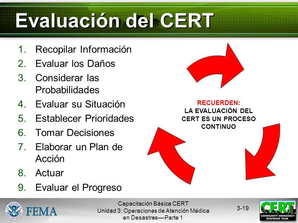 Capacitación Básica CERT Unidad 3: Operaciones de Atención Médica en Desastres Parte 1 3-18 Responder a un Evento con Numerosas Víctimas Elaborar un p
