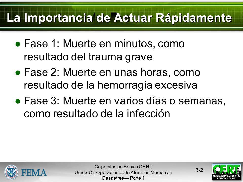 Capacitación Básica CERT Unidad 3: Operaciones de Atención Médica en Desastres Parte 1 3-1 Premisas La necesidad de que los miembros del CERT aprendan