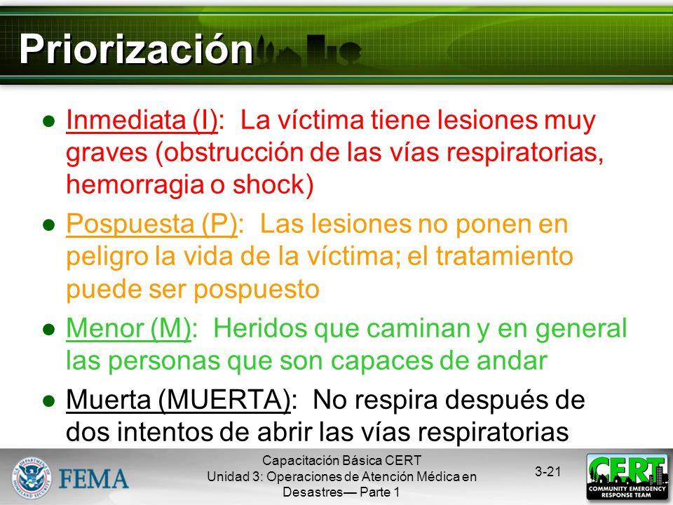 Capacitación Básica CERT Unidad 3: Operaciones de Atención Médica en Desastres Parte 1 3-20 ¿Qué es la Priorización? El proceso para manejar un evento