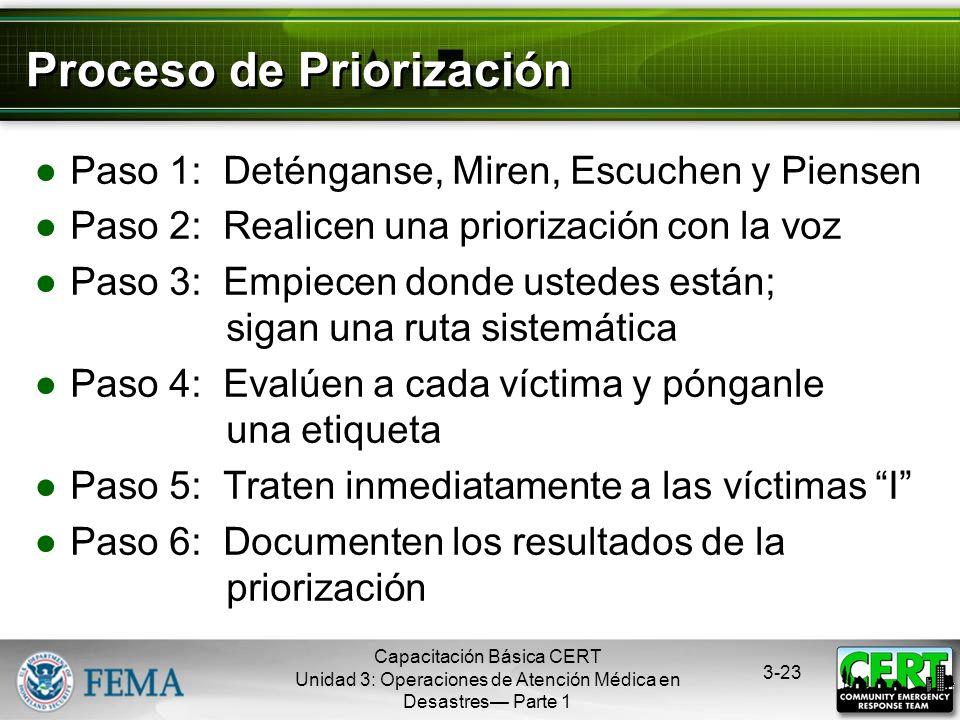 Capacitación Básica CERT Unidad 3: Operaciones de Atención Médica en Desastres Parte 1 3-22 Seguridad de los Rescatistas durante la Priorización Si se