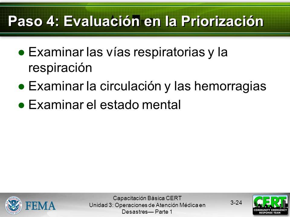 Capacitación Básica CERT Unidad 3: Operaciones de Atención Médica en Desastres Parte 1 3-23 Proceso de Priorización Paso 1: Deténganse, Miren, Escuche
