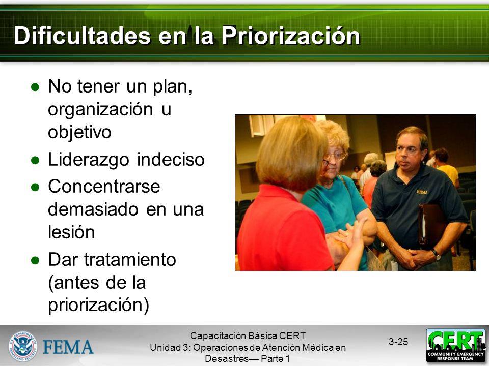 Capacitación Básica CERT Unidad 3: Operaciones de Atención Médica en Desastres Parte 1 3-24 Paso 4: Evaluación en la Priorización Examinar las vías re
