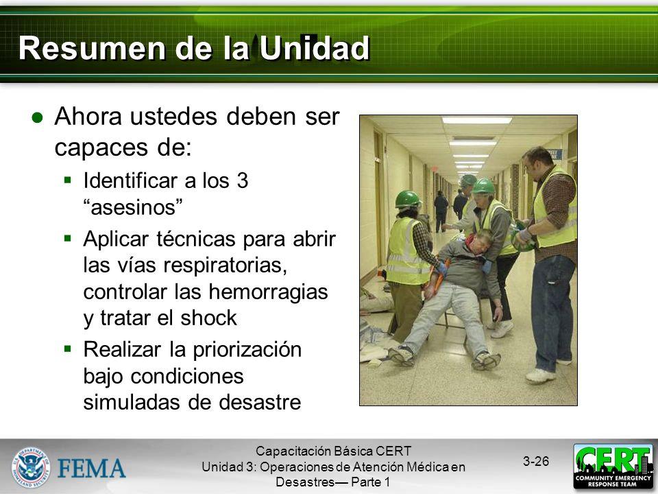Capacitación Básica CERT Unidad 3: Operaciones de Atención Médica en Desastres Parte 1 3-25 Dificultades en la Priorización No tener un plan, organiza