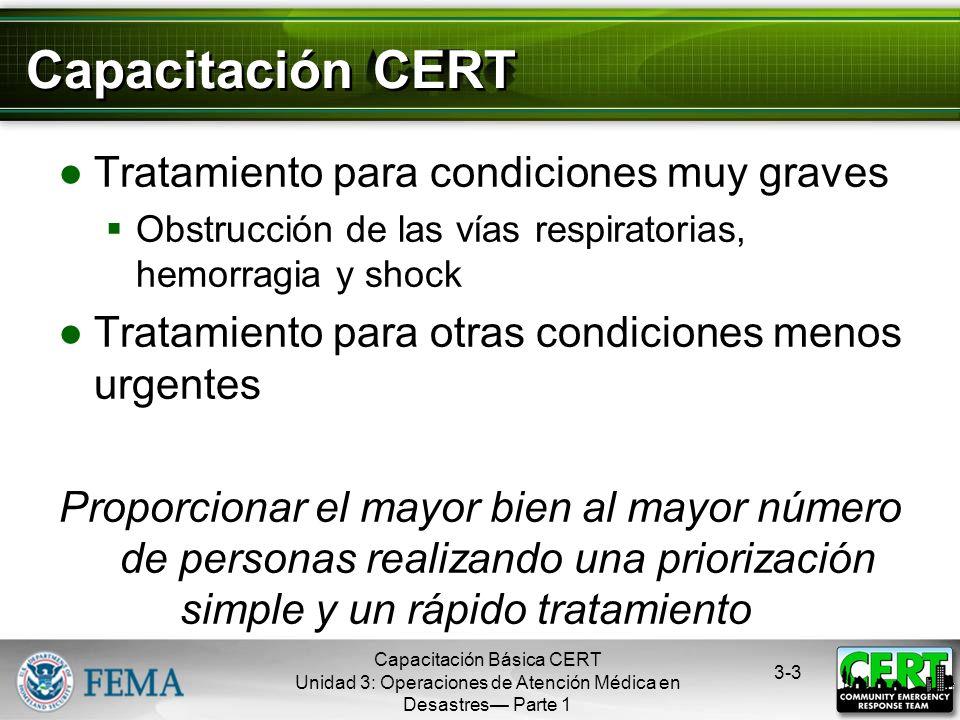 Capacitación Básica CERT Unidad 3: Operaciones de Atención Médica en Desastres Parte 1 3-2 La Importancia de Actuar Rápidamente Fase 1: Muerte en minu