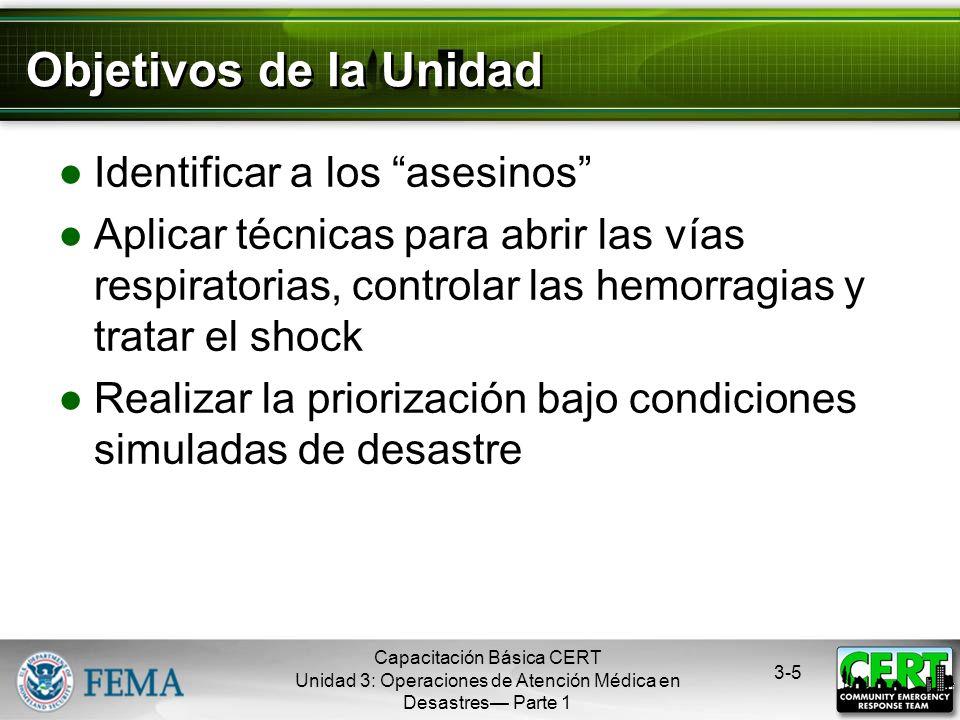 Capacitación Básica CERT Unidad 3: Operaciones de Atención Médica en Desastres Parte 1 3-4 START STart = Simple Triage = Priorización Simple Se clasif