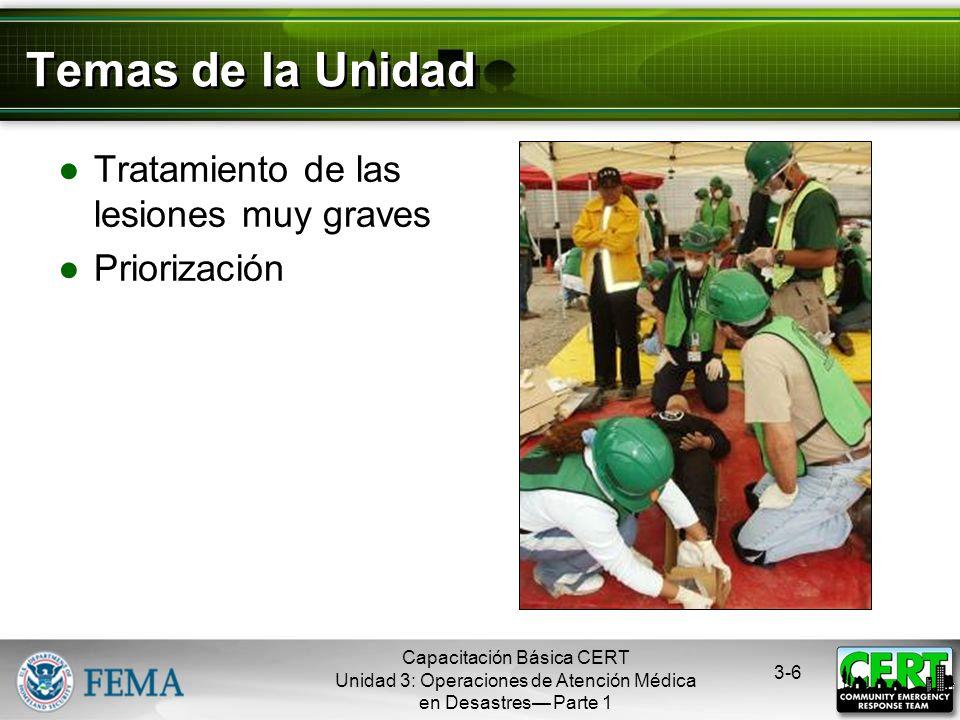 Capacitación Básica CERT Unidad 3: Operaciones de Atención Médica en Desastres Parte 1 3-5 Objetivos de la Unidad Identificar a los asesinos Aplicar t