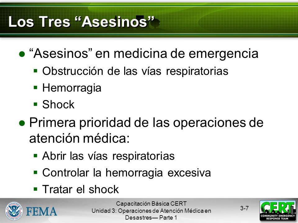Capacitación Básica CERT Unidad 3: Operaciones de Atención Médica en Desastres Parte 1 3-6 Temas de la Unidad Tratamiento de las lesiones muy graves P