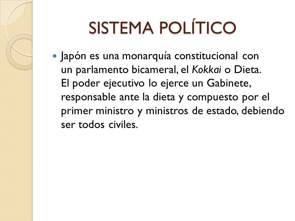 SISTEMA POLÍTICO SISTEMA POLÍTICO Japón es una monarquía constitucional con un parlamento bicameral, el Kokkai o Dieta. El poder ejecutivo lo ejerce u