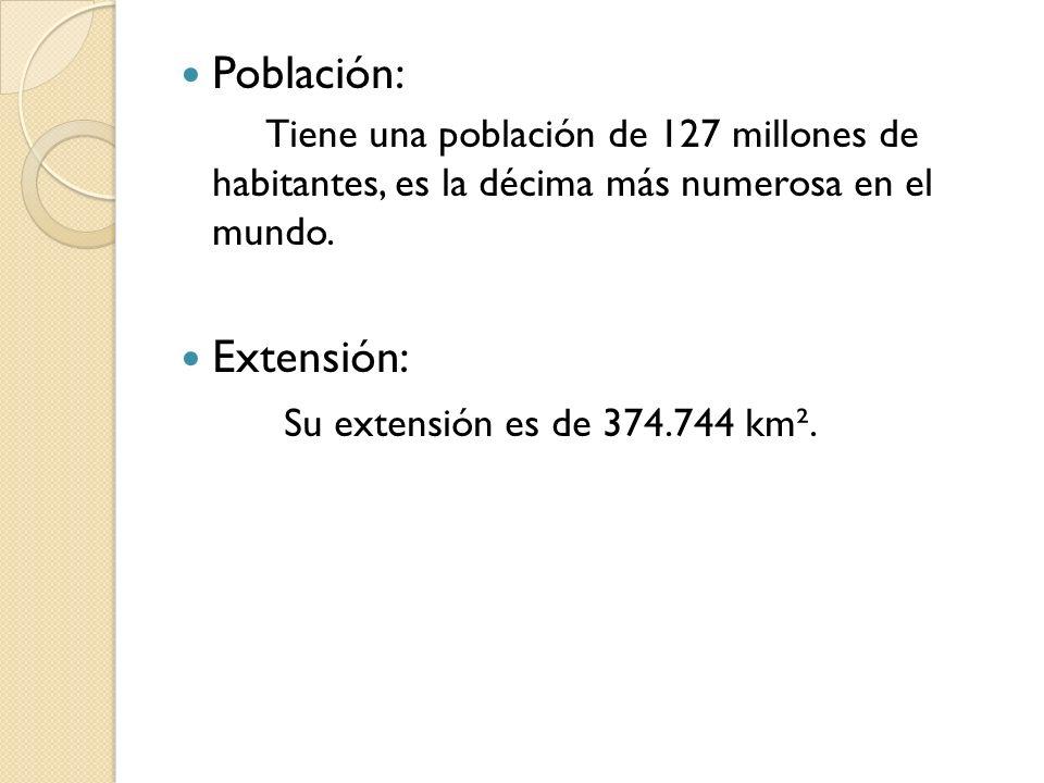 Población: Tiene una población de 127 millones de habitantes, es la décima más numerosa en el mundo. Extensión: Su extensión es de 374.744 km².