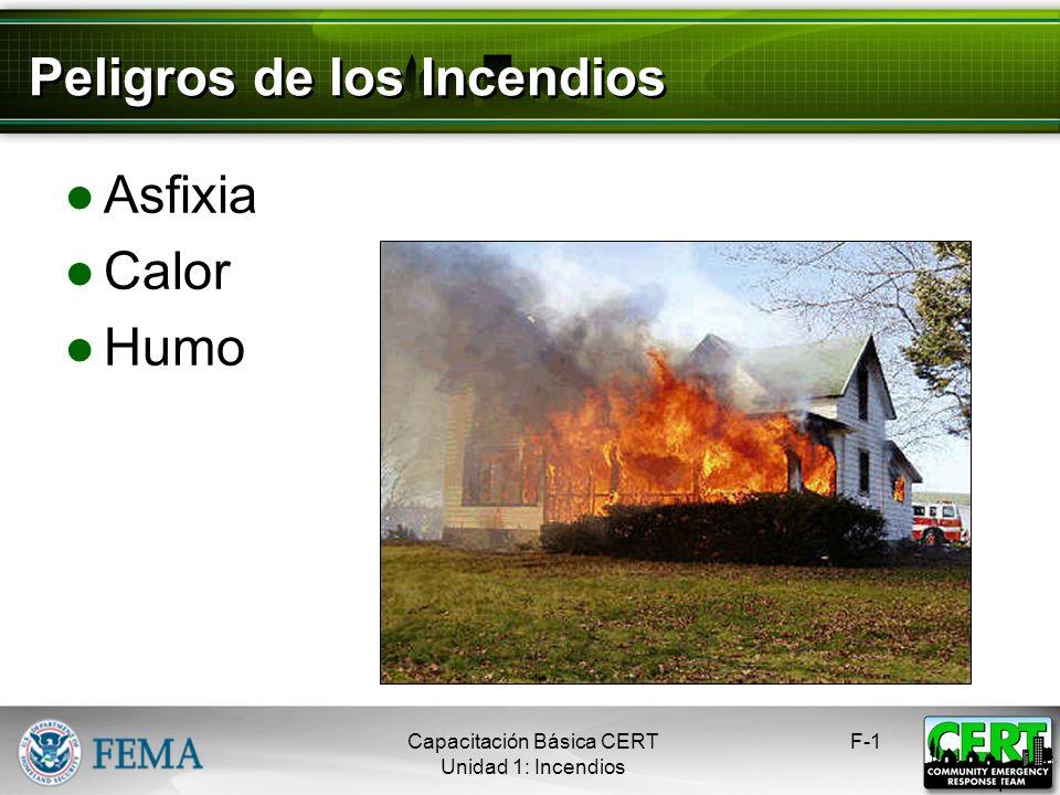 Peligros de los Incendios Asfixia Calor Humo F-1 1 Capacitación Básica CERT Unidad 1: Incendios