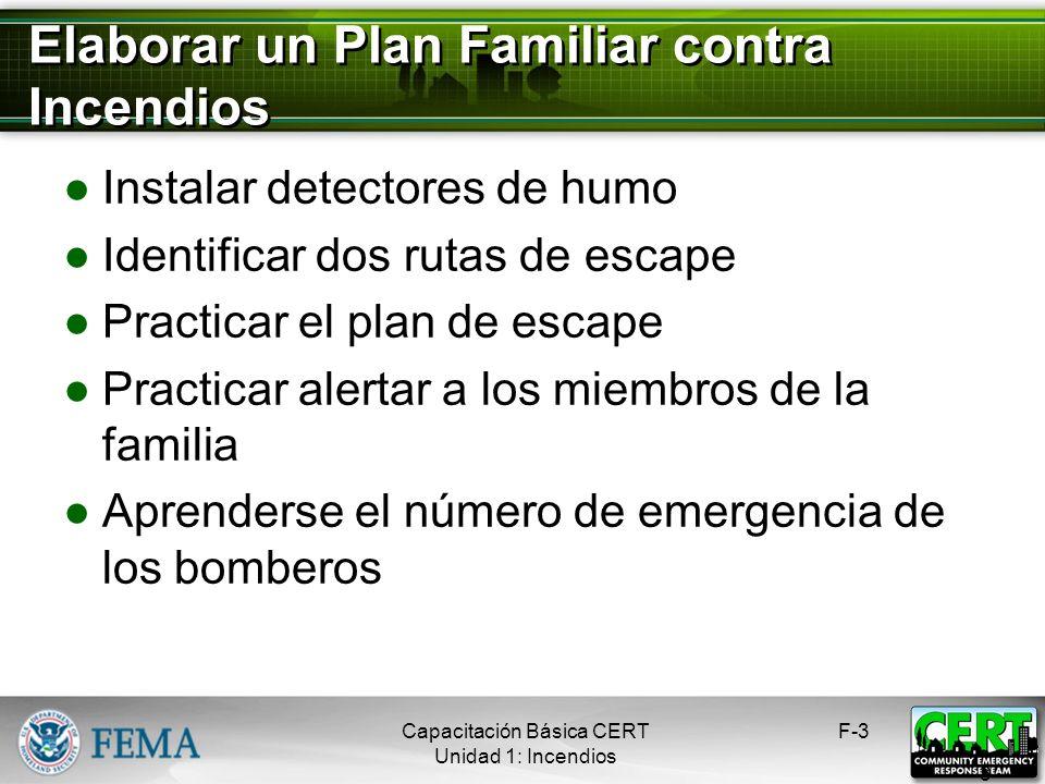 Elaborar un Plan Familiar contra Incendios Instalar detectores de humo Identificar dos rutas de escape Practicar el plan de escape Practicar alertar a los miembros de la familia Aprenderse el número de emergencia de los bomberos F-3 3 Capacitación Básica CERT Unidad 1: Incendios