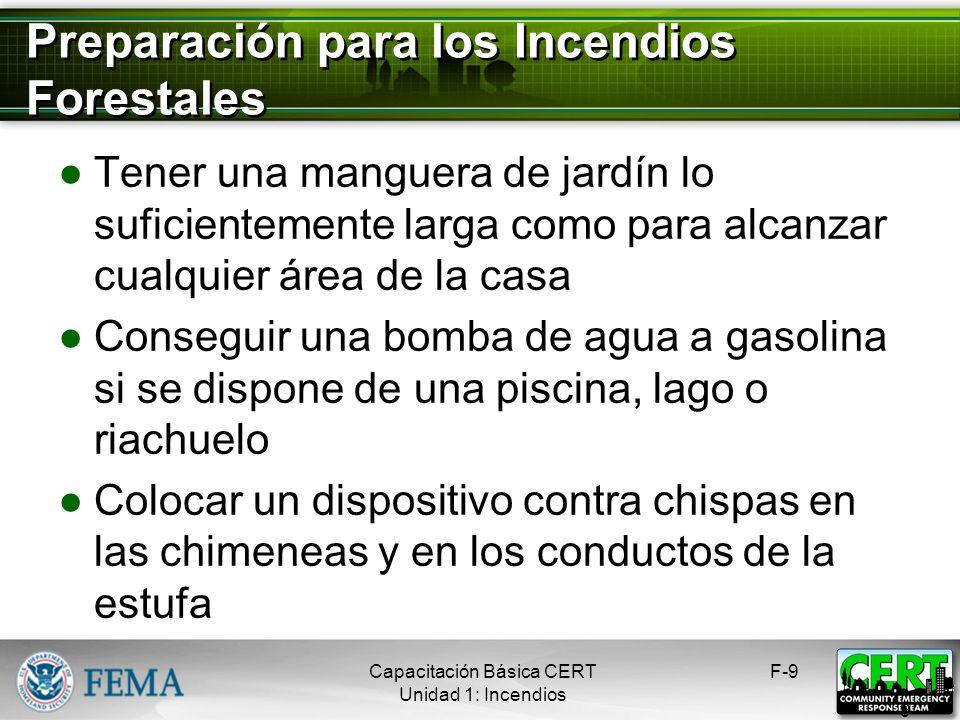 Tres Clases de Incendios Forestales Incendio superficial Incendio subterráneo Incendio de copas F-8 8 Capacitación Básica CERT Unidad 1: Incendios
