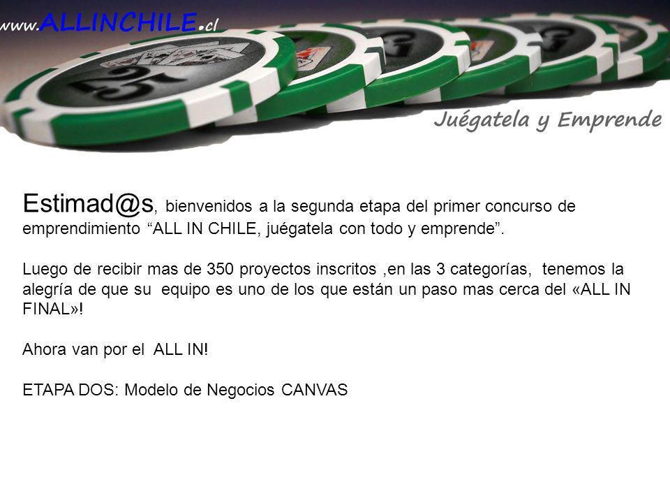 Estimad@s, bienvenidos a la segunda etapa del primer concurso de emprendimiento ALL IN CHILE, juégatela con todo y emprende. Luego de recibir mas de 3