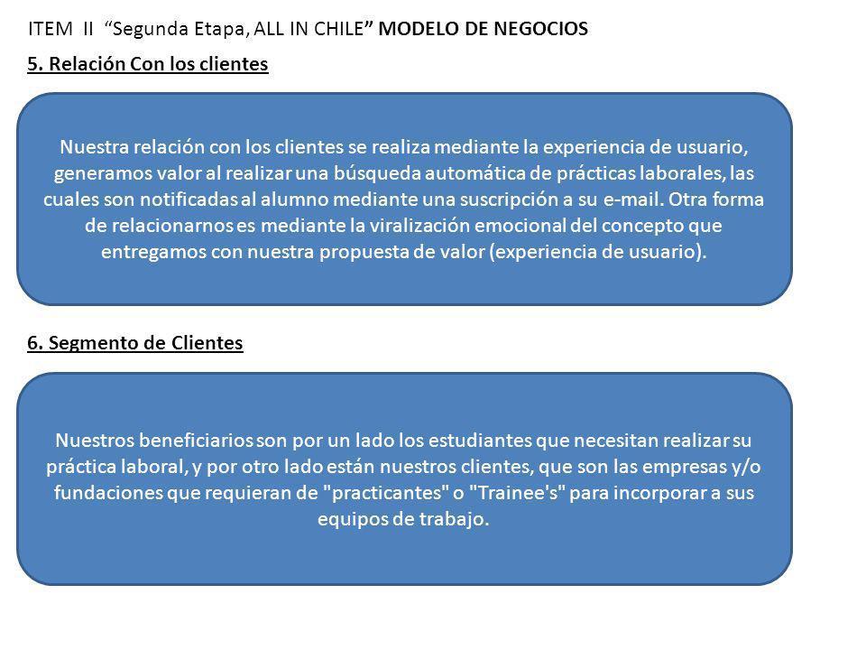 5. Relación Con los clientes ITEM II Segunda Etapa, ALL IN CHILE MODELO DE NEGOCIOS Nuestra relación con los clientes se realiza mediante la experienc
