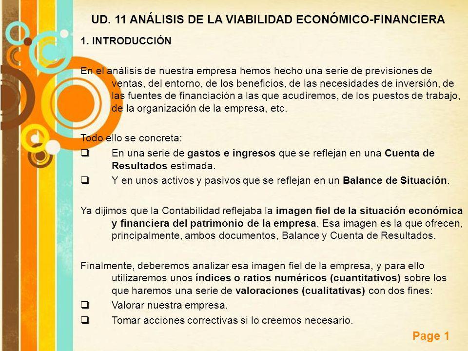 Free Powerpoint Templates Page 1 UD. 11 ANÁLISIS DE LA VIABILIDAD ECONÓMICO-FINANCIERA 1. INTRODUCCIÓN En el análisis de nuestra empresa hemos hecho u