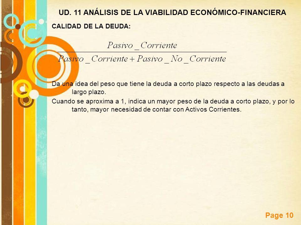 Free Powerpoint Templates Page 10 UD. 11 ANÁLISIS DE LA VIABILIDAD ECONÓMICO-FINANCIERA CALIDAD DE LA DEUDA: Da una idea del peso que tiene la deuda a