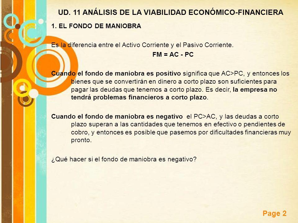 Free Powerpoint Templates Page 2 UD. 11 ANÁLISIS DE LA VIABILIDAD ECONÓMICO-FINANCIERA 1. EL FONDO DE MANIOBRA Es la diferencia entre el Activo Corrie