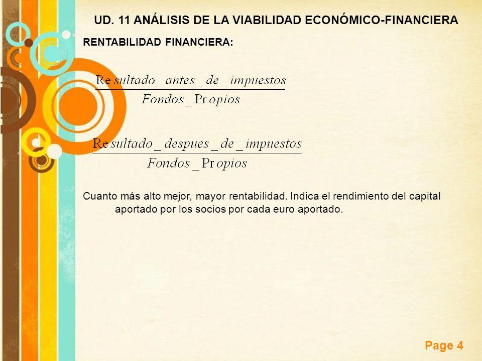 Free Powerpoint Templates Page 4 UD. 11 ANÁLISIS DE LA VIABILIDAD ECONÓMICO-FINANCIERA RENTABILIDAD FINANCIERA: Cuanto más alto mejor, mayor rentabili