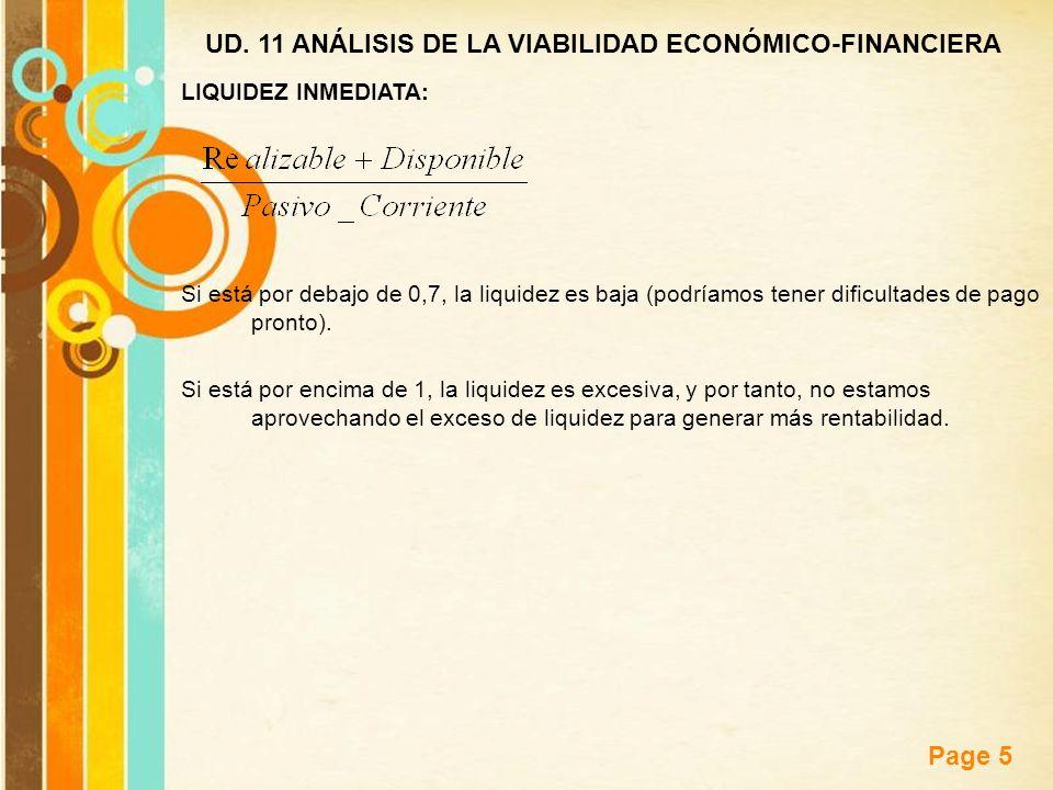 Free Powerpoint Templates Page 5 UD. 11 ANÁLISIS DE LA VIABILIDAD ECONÓMICO-FINANCIERA LIQUIDEZ INMEDIATA: Si está por debajo de 0,7, la liquidez es b