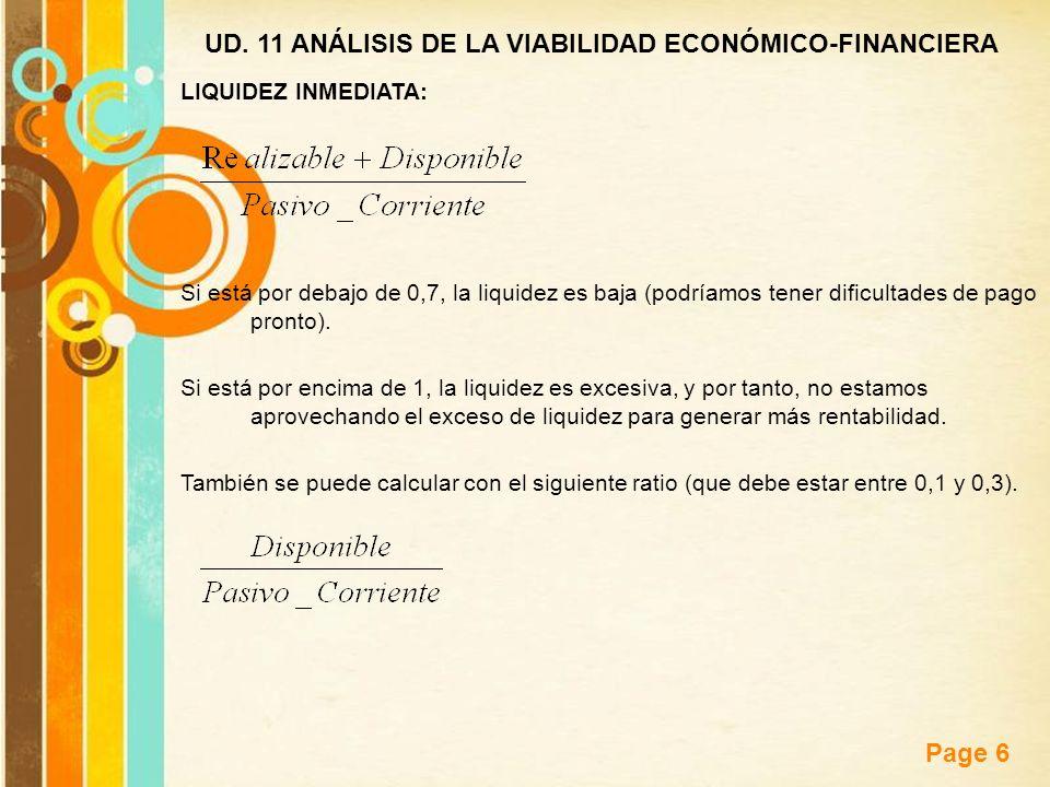 Free Powerpoint Templates Page 6 UD. 11 ANÁLISIS DE LA VIABILIDAD ECONÓMICO-FINANCIERA LIQUIDEZ INMEDIATA: Si está por debajo de 0,7, la liquidez es b
