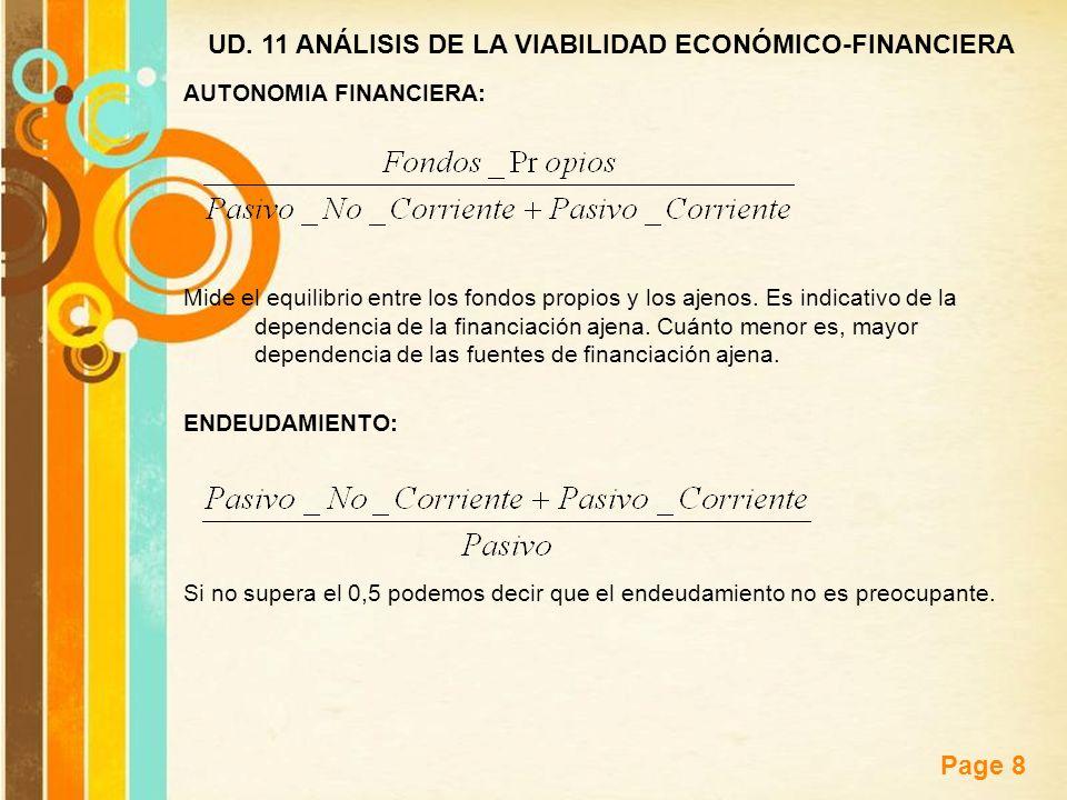 Free Powerpoint Templates Page 8 UD. 11 ANÁLISIS DE LA VIABILIDAD ECONÓMICO-FINANCIERA AUTONOMIA FINANCIERA: Mide el equilibrio entre los fondos propi
