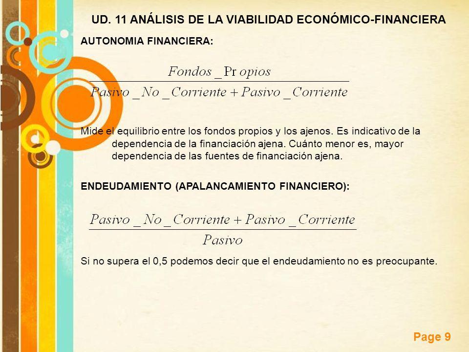 Free Powerpoint Templates Page 9 UD. 11 ANÁLISIS DE LA VIABILIDAD ECONÓMICO-FINANCIERA AUTONOMIA FINANCIERA: Mide el equilibrio entre los fondos propi
