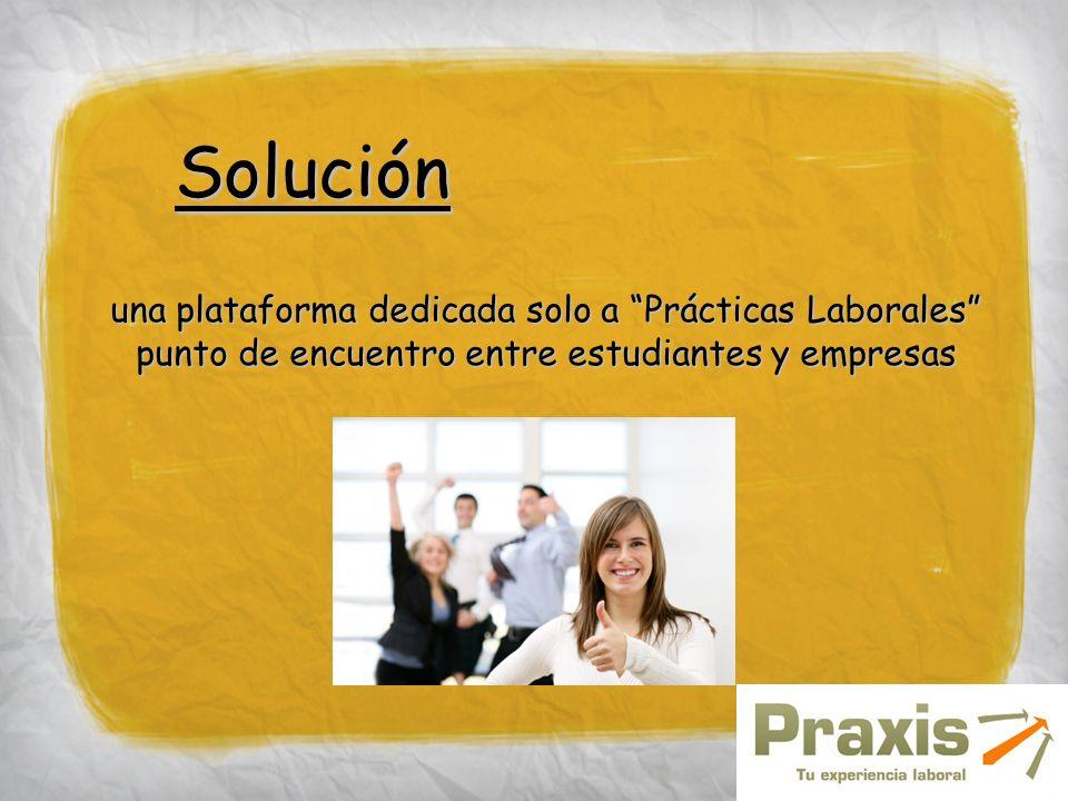 Solución una plataforma dedicada solo a Prácticas Laborales punto de encuentro entre estudiantes y empresas