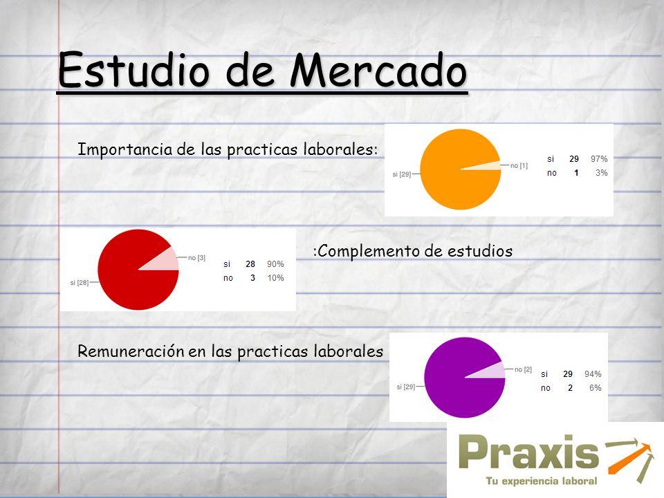 Estudio de Mercado Importancia de las practicas laborales: :Complemento de estudios Remuneración en las practicas laborales