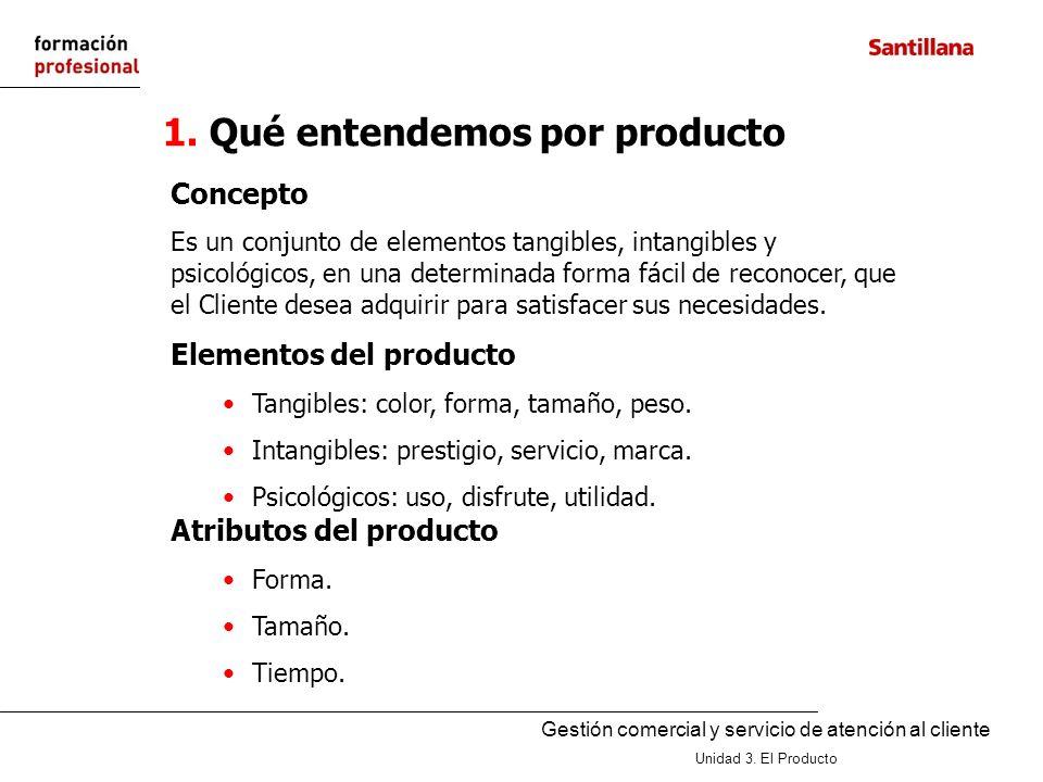 Gestión comercial y servicio de atención al cliente Unidad 3. El Producto 1. Qué entendemos por producto Concepto Es un conjunto de elementos tangible