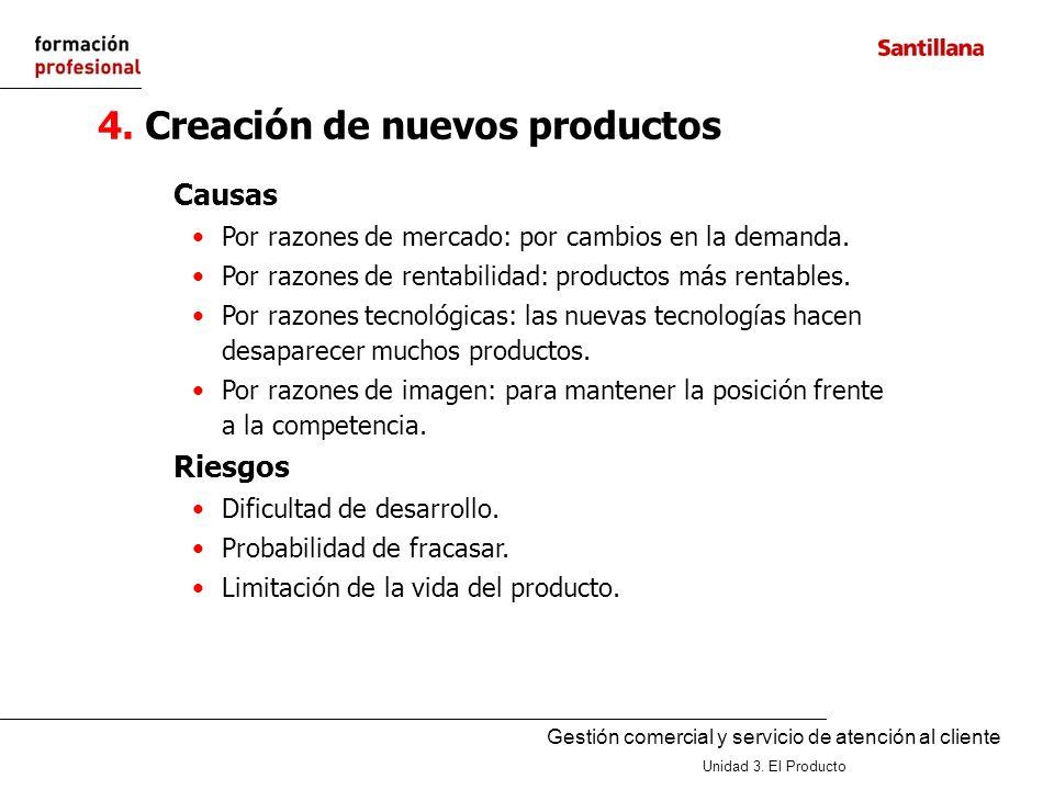 Gestión comercial y servicio de atención al cliente Unidad 3. El Producto 4. Creación de nuevos productos Causas Por razones de mercado: por cambios e