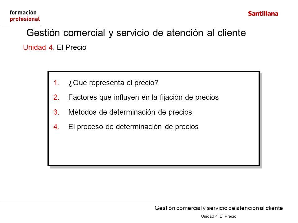 Gestión comercial y servicio de atención al cliente Unidad 4. El Precio Gestión comercial y servicio de atención al cliente Unidad 4. El Precio 1.¿Qué