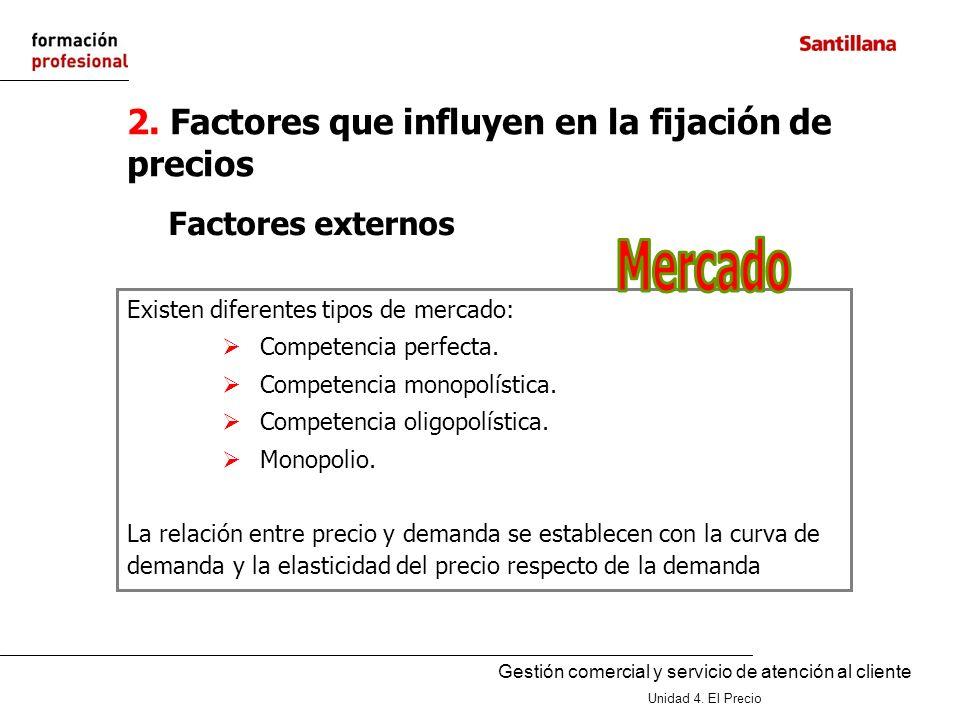 Gestión comercial y servicio de atención al cliente Unidad 4. El Precio 2. Factores que influyen en la fijación de precios Existen diferentes tipos de