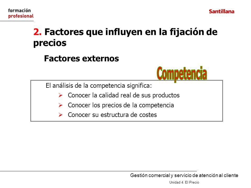 Gestión comercial y servicio de atención al cliente Unidad 4. El Precio 2. Factores que influyen en la fijación de precios Factores externos El anális