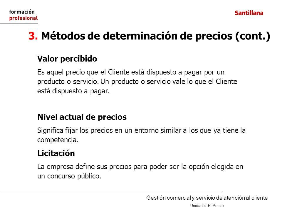 Gestión comercial y servicio de atención al cliente Unidad 4. El Precio 3. Métodos de determinación de precios (cont.) Valor percibido Es aquel precio
