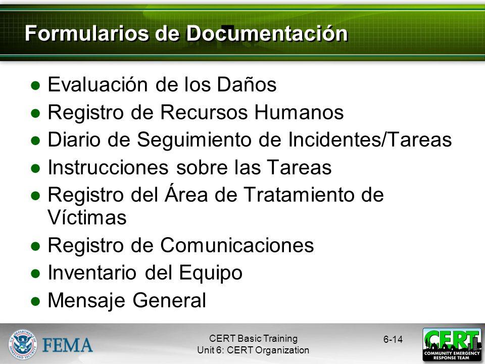 6-13 Documentación ¡Escriban! Capacitación Básica CERT Unidad 6: Organización del CERT